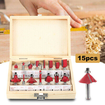15pc Router Bit Set Kit 1/4'' Shank Tungsten Carbide Rotary Tool Wood Case Box S