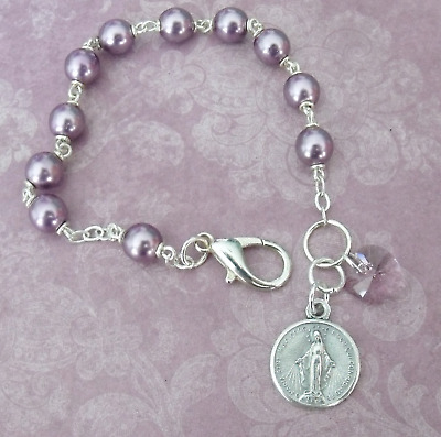 New Purple Violet Rosary Bead Crystal Heart Catholic Miraculous Medal Bracelet