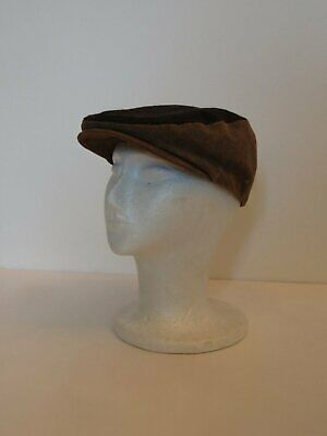 Brown Leather & Fabric Flat Cap by Avenel