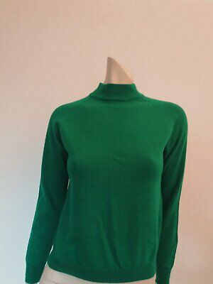 Vintage Emerald Green Pure Wool Jumper, Pullover - Bust 86 cm