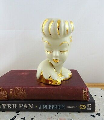 Lovely Vintage Ceramic Lady Head Vase with Gold Painted Features
