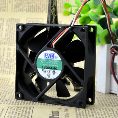 FOR AVC 8025 F8025B12E 12V 0.1A 3 wire double ball cooling fan 808025MM