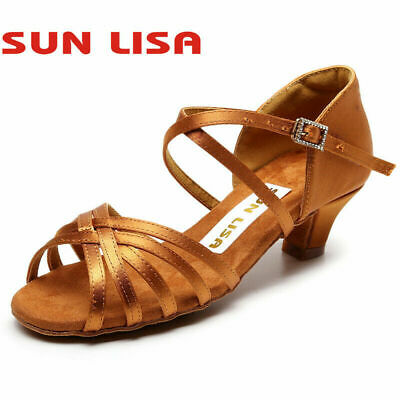 Childrens Latin Salsa Ballroom Dance Shoes for Womens Girls Ladies Child Kids