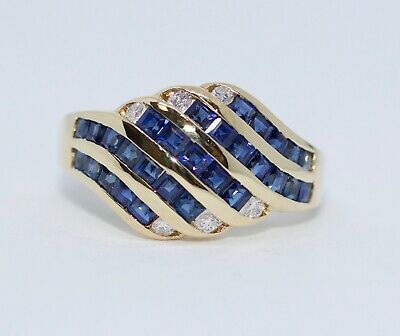 18k Yellow Gold Asscher Cut Blue Sapphire And White Round Diamond Ring Size 5.75