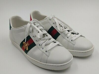 19a36f6c1 NEW $650 GUCCI Unisex Ace Embroidered Leather Sneakers Shoes EU 38 , US 7 G
