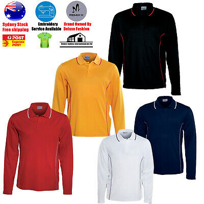 Mens Polo Shirt 100% Polyester Essentials Cut Long Sleeve Polo Cool Dry Unisex