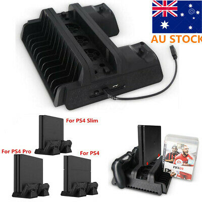 AU Vertical Cooling Fan Stand with Gamepad Charging Station For PS4/Slim/PS4 Pro