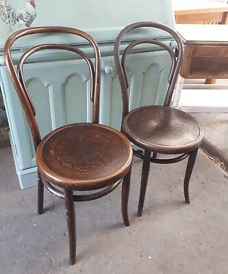 Two Lovely Early MUNDUS Viennese Bentwood Bistro Chairs (Need some restoration)