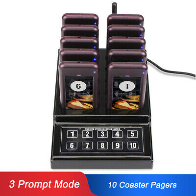 Restaurant Coffee Shop Wireless Guest Paging Queuing System 1xKeypad+10xPager UK