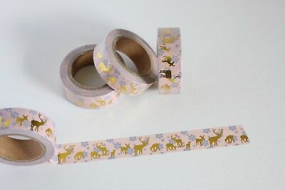 Pink with gold reindeer print washi tape, Christmas washi, planner accessories