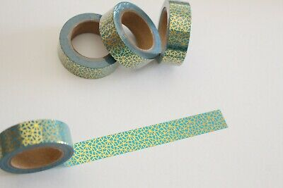 Gold foil on turquoise washi tape, Cute Washi Tape, Planner accessories