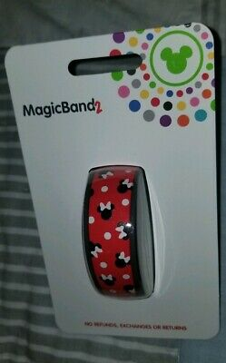 NEW Disney Parks Minnie Mouse Bows & Polka Dots RED Magic Band 2 LINK IT LATER