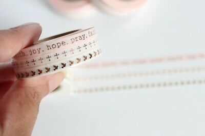 Faith Collection - Coral & rose gold washi tape, skinny washi, Set of 3 rolls,
