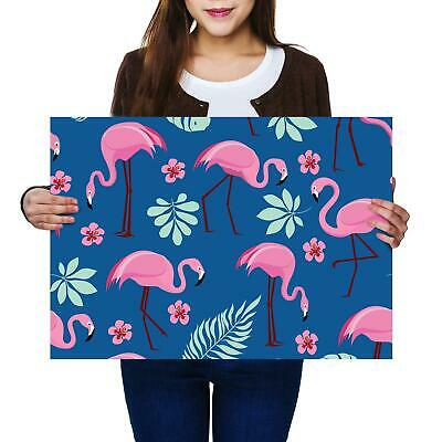 A2 | Tropical Pink Flamingo Birds - Size A2 Poster Print Photo Art Gift #8461