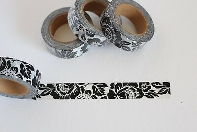 Bold black floral print washi tape, Cute Washi Tape, Planner accessories