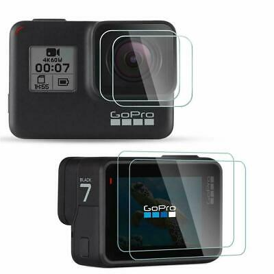 2 x Tempered Glass Screen Protector for Black Go Pro Hero 7 6 5 Lens Camera LCD