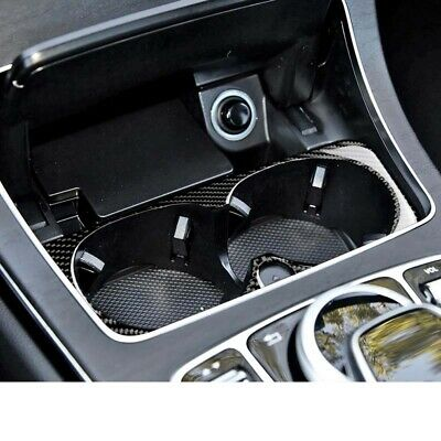Real Carbon Fiber Water Cup Holder Pad Cover Trim Fit For Benz C E GLC 2015-2018