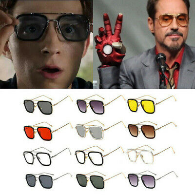 EDITH Tony Stark Sunglasses Men Robert Downey Summer Square Avengers Iron Man