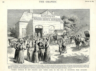 WOMEN'S SUFFRAGE IN NEW SEALAND THE POLL AT DEVENPORT  Historical Print c.1894