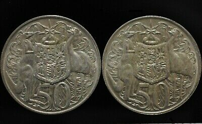 2 x 1966 Australian Round Fifty 50 Cent Coins Circulated  80%  Silver.