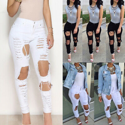 9c845ff6a63376 Women Distressed Destroyed Denim Jeans Skinny High Wasit Ladies Pants  Trousers