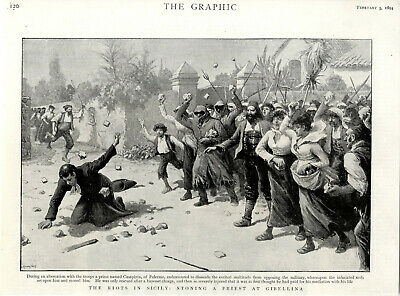 THE RIOTS IN SICILY: STONING A PRIEST AT GIBELLINA c.1894