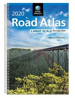 Road Atlas Rand McNally Large Scale Spiral-Bound English 2019 2020 US Travel Map