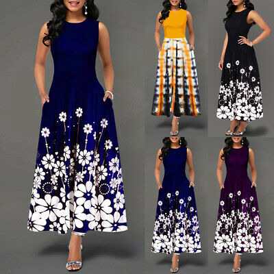 Women Ladies Floral Sleeveless Swing Maxi Long Dress Summer Holiday Party Formal