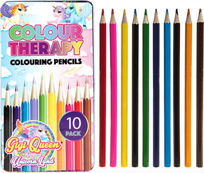 Colour Therapy 10pc Unicorn Colouring Pencils In Tin Case Kids Adult Anti-Stress