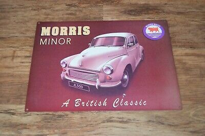 MORRIS MINOR 1000  METAL SIGN.VINTAGE MOGGY MINOR 1000.CLASSIC BRITISH CARS.A3