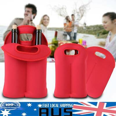 Red Two Bottle Insulated WINE TOTE Bag Neoprene Carrier Cooler Waterproof Bag US
