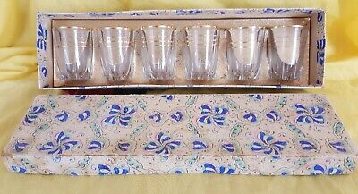 Vintage Retro Set Of 6 Shot Liqueur Glasses Boxed 1960S Gold Trim