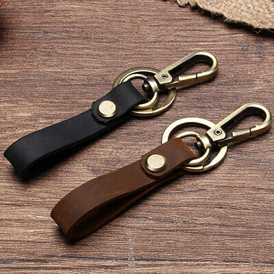 Key Chain & Leather Belt Key Holder Ring Keychain Keyring Keyfob Detachable US