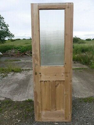 GL00 (24 3/4 x 76) Old Victorian Period Glazed Pine Door with Reeded Glass