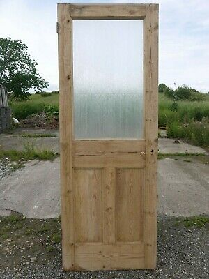 GL06e (27 3/4 x 75 3/4) Old Victorian Period Glazed Pine Door with Texture Glass