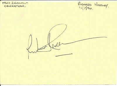 Sir Richard Hadlee MBE signed piece approx 6 x 4 inches. Cricketer E1910
