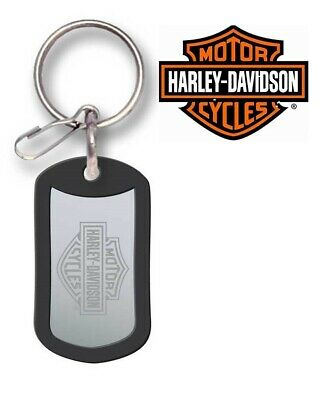Harley-Davidson Official Rubber Tag Bar & Shield Metal Key Chain Dog Tag NEW