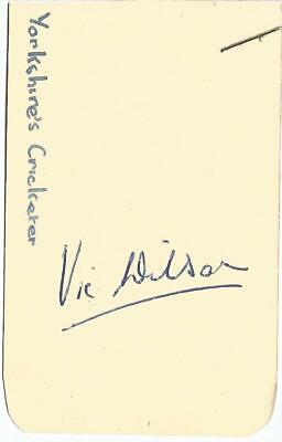 Vic Wilson signed card approx 3 x 2 inches. Cricketer E1895