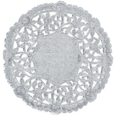 "100 Metallic Silver Foil 4"" Paper Lace Doilies Floral Embossing  Made in Canada"