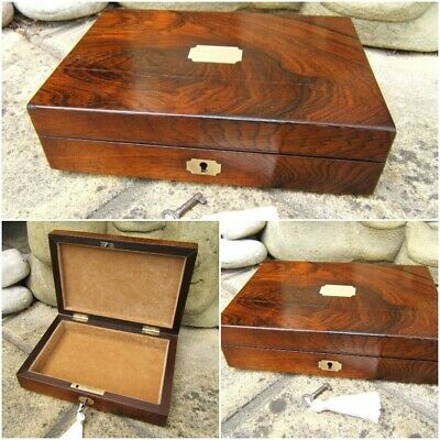 Terrific 19C Antique Rosewood Document/Jewellery Box - Fab Interior