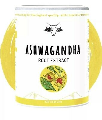 fable Premium Ashwagandha Root Extract with 7% Withanolides-120 Capsules-vegan