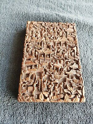 19th C. Antique Chinese Wooden Fine Carved Figures Decorated Card Case Holder