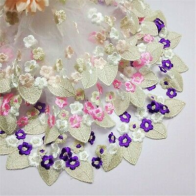 Embroidery Flowers Plant Dancing Dress Costume Lace Ribbon Trim Craft DIY Edging