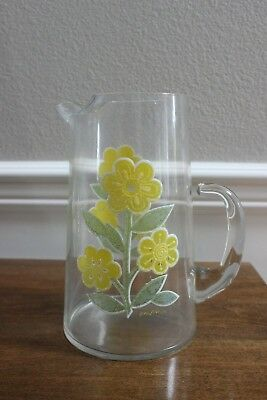 "Vintage Mid Century Retro Culver 9"" Glass Pitcher W/ Yellow Daisy / Flowers"