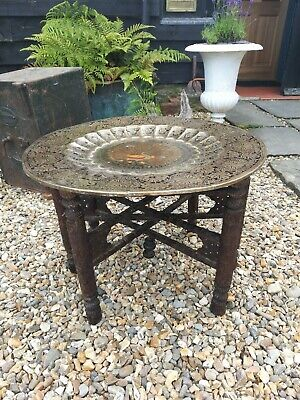 Antique Anglo Indian Carved Folding Side Table With Brass  Tray