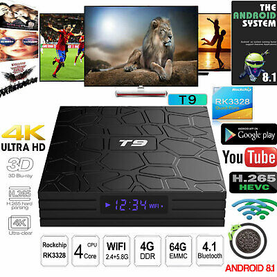 Latest T9 Android 8.1 Smart TV Box Quad-Core 2.4Ghz Support 4K Full HD(4GB+32GB)