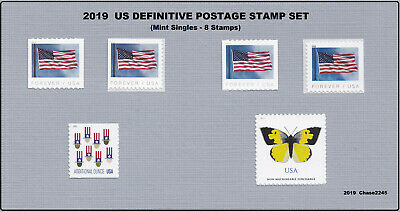 2019 US Definitive Stamp Year Set (Singles - 6 Stamps) 2019 Mint NH