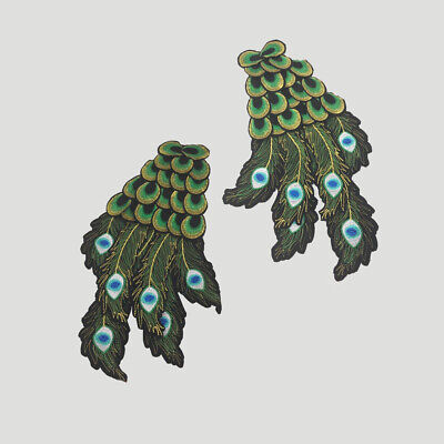 Green Peacock Feather Sew on Embroidered Patch Applique For Clothes Jeans Badges