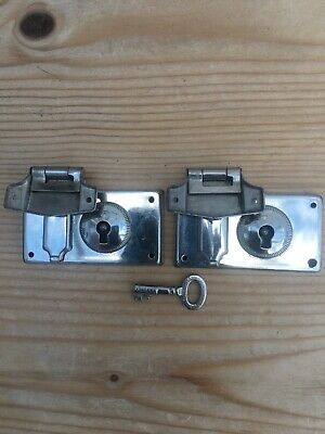Vintage Two Small / Medium Sized Suitcase Locks with Keys - Silver Tone