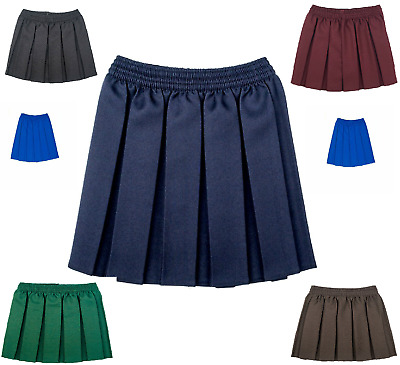 Elasticated School Skirt Box Pleated All Round Uniform Girls Kids